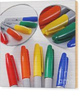 Colorful Markers Wood Print