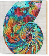 Colorful Nautilus Shell By Sharon Cummings Wood Print