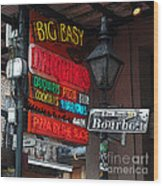 Colorful Neon Sign On Bourbon Street Corner French Quarter New Orleans Poster Edges Digital Art Wood Print