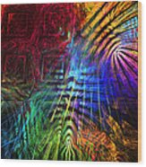 Colorful Psychedelic Abstract Fractal Art Wood Print