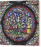 Colourful Stained Glass Window In Wood Print by Terence Waeland