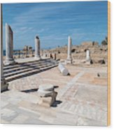 Columns In Archaeological Site Wood Print