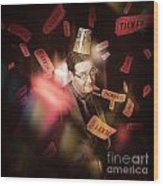Comedy Entertainment Man On Theater Stage Wood Print