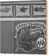 Coney Island Alive In Black And White Wood Print