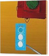 Confusing Wrong-color Traffic Lights And Copyspace Wood Print