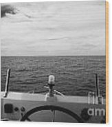 Controls On The Flybridge Deck Of A Charter Fishing Boat In The Gulf Of Mexico Out Of Key West Flori Wood Print