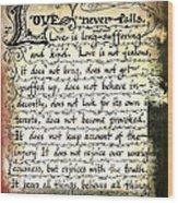 1 Corinthians 13 Love Never Fails Wood Print