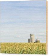 Corn Field With Silos Wood Print