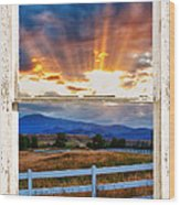 Country Beams Of Light Barn Picture Window Portrait View  Wood Print