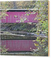 Covered Bridge Along The Wissahickon Creek Wood Print