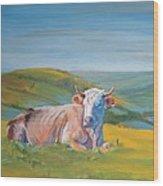 Cow Lying Down Wood Print