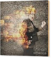 Crazy Businessman Running Engulfed In Fire. Late Wood Print