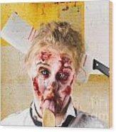 Crazy Sick Monster Eating Gmo Food Wood Print