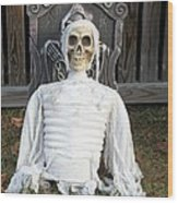 Creepy Skulled Mummy Wood Print