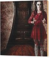 Creepy Woman With Bloody Scissors In Haunted House Wood Print