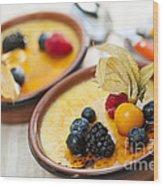 Creme Brulee Dessert Wood Print