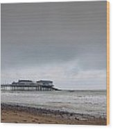 Cromer Pier At Sunrise On English Coast Wood Print by Fizzy Image