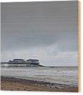 Cromer Pier At Sunrise On English Coast Wood Print