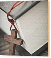 Cross And Bible Wood Print