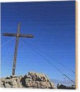 Cross At Capu Di A Veta Near Calvi In Corsica Wood Print