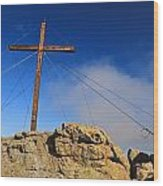 Cross At Capu Di A Veta Near Calvi Wood Print