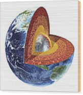 Cross Section Of Planet Earth Showing Wood Print