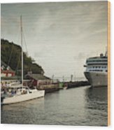 Cruise Ship At Port, Kingstown, Saint Wood Print