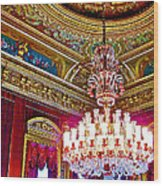 Crystal Chandelier In Dolmabache Palace In Istanbul-turkey  Wood Print