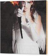 Cupid Angel Of Romance Setting Hearts On Fire Wood Print
