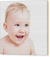 Cute Happy Baby Laughing On White Wood Print