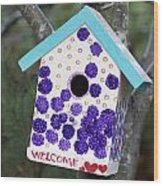 Cute Little Birdhouse Wood Print