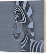 Cyan Zebra Wood Print