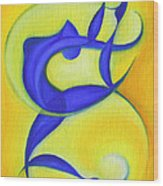 Dancing Sprite In Yellow And Blue Wood Print