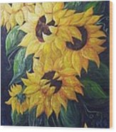 Dancing Sunflowers  Wood Print
