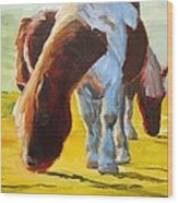 Dartmoor Ponies Painting Wood Print