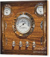 Dashboard In A Classic Wooden Boat Wood Print