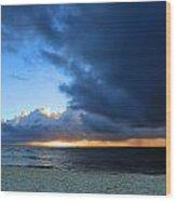 Dawn Over The Ocean Wood Print