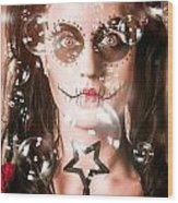 Day Of The Dead Girl Blowing Party Bubbles Wood Print