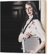 Dead Female Zombie Worker Holding Briefcase Wood Print