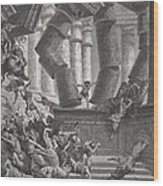 Death Of Samson Wood Print by Gustave Dore