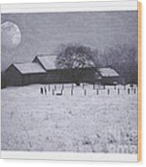 December Moonrise Farmstead Wood Print