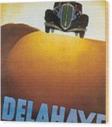 Delahaye Cars - Vintage Poster Wood Print