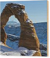 Delicate Arch With Snow Arches National Park Utah Wood Print