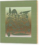 Delicate Green Stroke Wood Print
