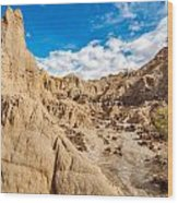 Desert And Blue Sky Wood Print