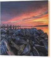 Dewey Beach Sunset Wood Print