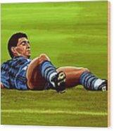Diego Maradona 2 Wood Print