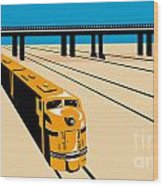 Diesel Train High Angle Retro Wood Print