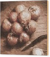 Digital Painting Of Brown Onions On Kitchen Table Wood Print