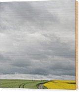 Dirt Road Passing Through Grain Wood Print